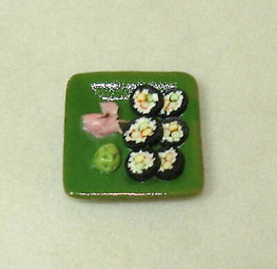 Mini Handcrafted Sushi Rice Rolls on a Ceramic Plate Miniatures for Doll House