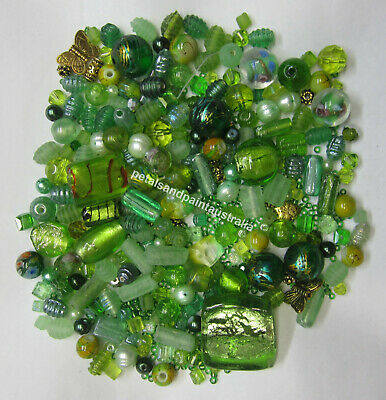 Green Bead Mix Foil Glass Gold Tone Metal Pearl Lampwork Mixed & Assorted Beads