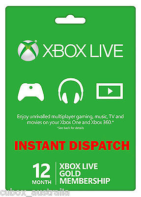 12 Month Xbox Live 1 year Gold Membership Card for 360 or One AU FASTEST SHIP