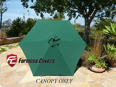 9ft Umbrella Replacement Canopy 6 Ribs in Hunter Green (Canopy Only)