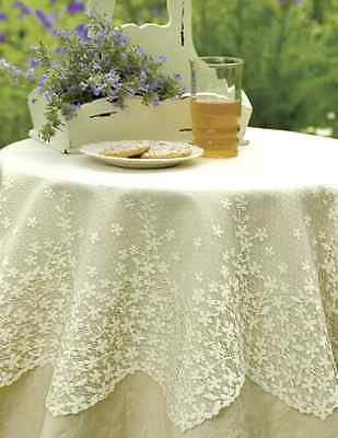 """Heritage Lace BLOSSOM 42"""" Round - 2 Colors Select White or Ecru"""