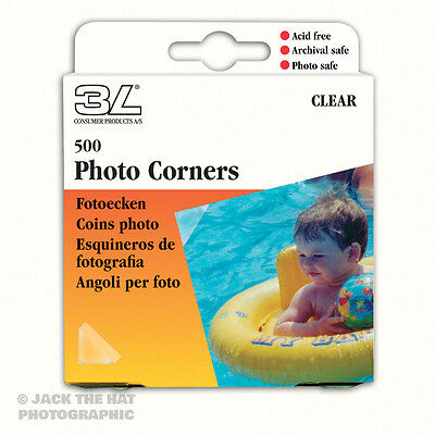 500 x Photo Corners, Self-Adhesive Clear Album Mounts. Acid-free, Archive Safe