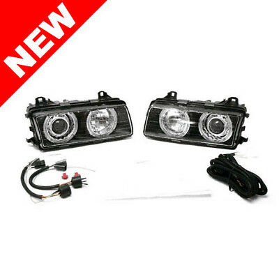 92-99 Bmw E36 3-Series Black E-Code Angel Eye Projector Headlights