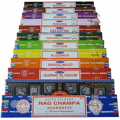 Satya Genuine Nag Champa Incense Sticks Joss 15g From 0.99p (mixed scents) +
