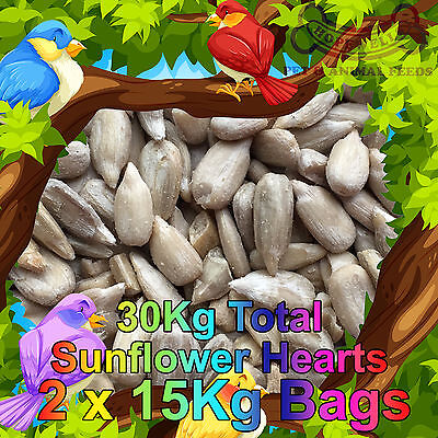 30KG (2x15Kg) Sunflower Hearts Bakery Grade Dehulled Kernels for Wild Bird Food