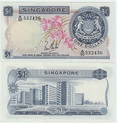Singapore 1 Dollar Banknote 1967 Uncirculated Condition Cat#1-A-2436