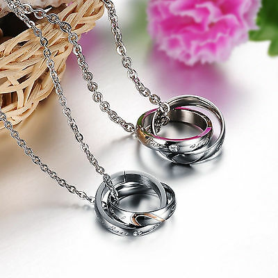 Elegant Stainless Steel Love Heart Puzzle Ring Pendant Couple Chain Necklace