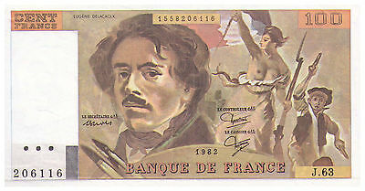1982 100 Francs France Banknote aUNC - Pick 154B - SN 206116