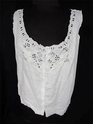 Very Rare Deadstock Edwardian Era Hand Embroidered White Cotton Top Size 38+