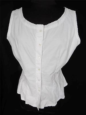 Very Rare French Edwardian White Cotton Under Top Blouse Size 38+