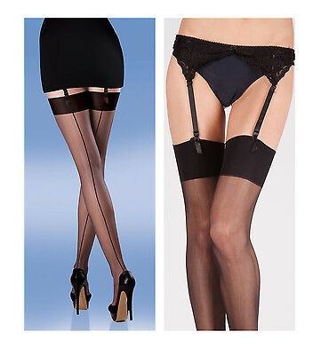 Lace Suspender Belt And Matching Smooth Knit Seamer Stockings