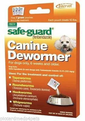 Safeguard Panacur (fenbendazole) K9 Dogs 10 lbs 3 Pack dose All Wormer Save