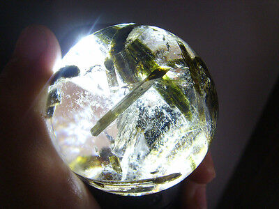"147g  RARE NATURAL ""green Tourmaline"" quartz crystal sphere ball healing q1719"