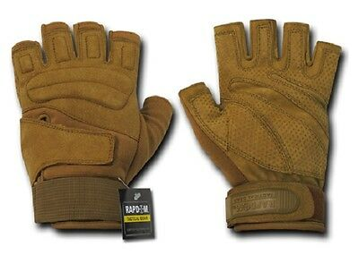 US RAPDOM Lightweight Half Finger Army Military Gloves Handschuhe coyote Small