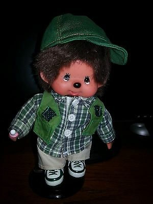 Vintage German Monchhichi.Monchichi 1974 Boy Complete Fishing outfit RARE Mint