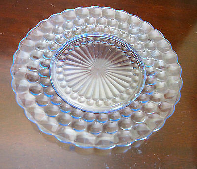 6 Vintage Anchor Hocking Bubble Bullseye Light Blue Dinner Plates