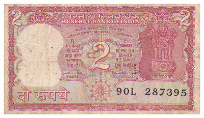 1984 2 Rupees India Banknote VF - Pick 53aa - SN 90L 287395