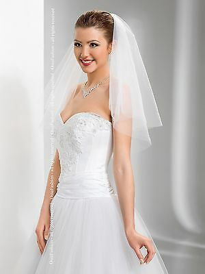 "2T White / Ivory Wedding Prom Bridal Elbow Veil With Comb 24"" - Cut Edge"