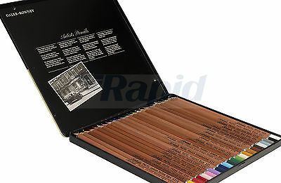 Daler Rowney Artists Coloured Pastel Pencils (Tin of 24) for Drawing Sketching
