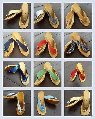 HAND MADE WOODEN & LEATHER SANDALS CLOGS FLIP FLOPS  for Women, Ladies & Girls