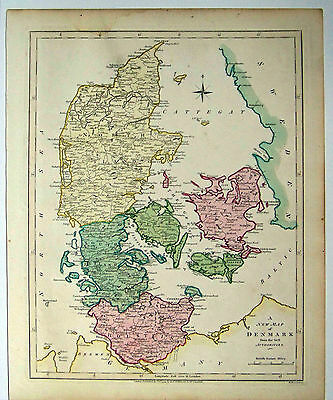 1794 Wilkinson Map of Denmark and Holstein Hand-Colored Germany Prussia