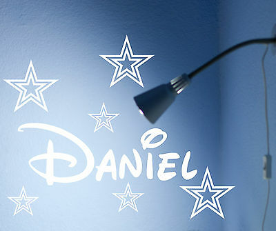PERSONALISED NAME WALL ART STICKERS GIRL BOY 3 sizes stars disney style