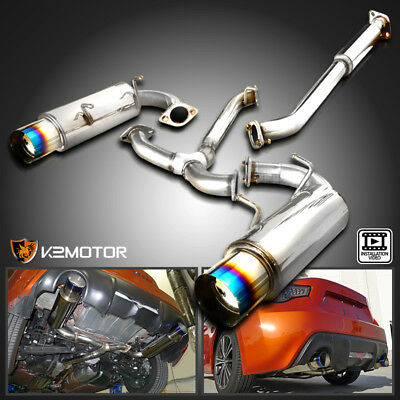 For 12-17 Scion FRS Subaru BRZ Dual Titanium Tip Catback Exhaust +Silencer