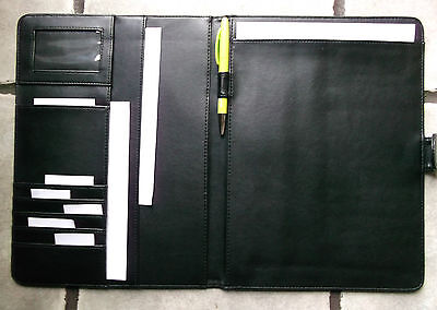New A4 Executive Document File Folder Organiser Conference Slim Faux Leather