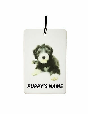 Personalized Bearded Collie Puppy Car Air Freshener (Christmas Stocking Filler)