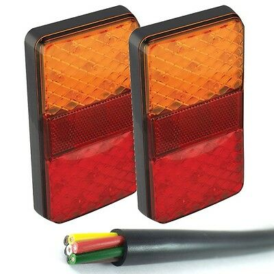 Pair 12v Fully Submersible Rectangle LED Boat Trailer Lights *With 7 core cable