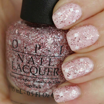 Opi Let S Do Anything We Want M78 Pink Tan White Glitter Nail Polish Lacquer