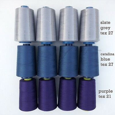 Lot: 4 INDUSTRIAL SERGER/OVERLOCK CONES polyester sewing thread assorted colors