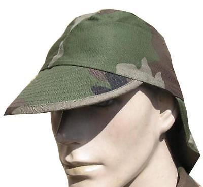 GENUINE FRANCE FRENCH ARMY FIELD HAT with NECK PROTECTION in F2 CCE CAMO