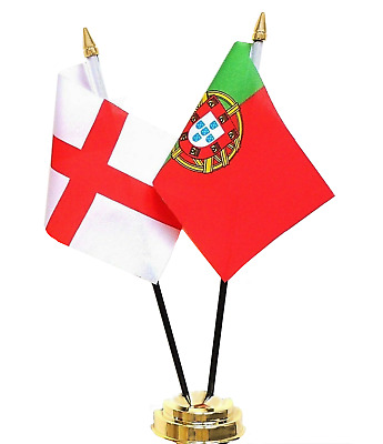 England & Portugal Double Friendship Table Flag Set
