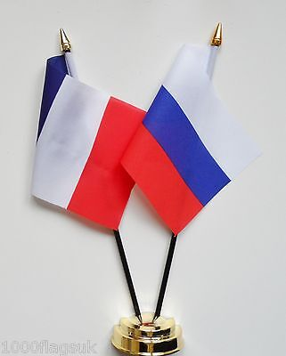 France & Russian Federation Russia Double Friendship Table Flag Set