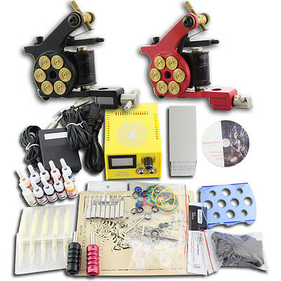 Tattoo Kit Tatuaggio 2 Macchinetta Tatuaggi Machine 10 Ink Power Supply DJ13A