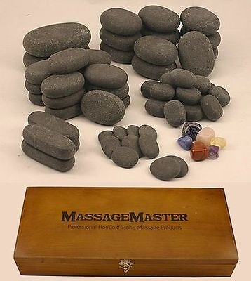 HOT STONE MASSAGE SET: 64 Basalt & Chakra Stones .......... NEW