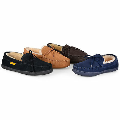 97d904493c8 Brumby Mens Genuine Sheepskin Leather Moccasin Slippers New
