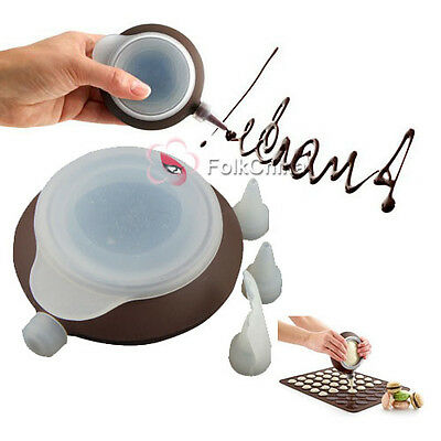 FC13-Silicone Macaroon Baking Cake Decorating Pen Tray + 3 Different Nozzles