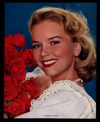 """VINTAGE 1960'S """"BOUQUET OF HAPPINESS"""" PRETTY GAL CALENDAR PHOTO PRINT"""