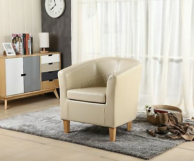 FoxHunter Ivory Faux Leather Tub Chair Armchair Dining Room Lounge Furniture New