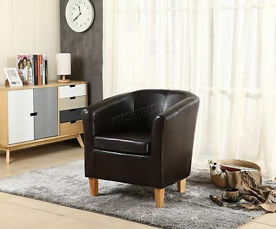 FoxHunter Brown Faux Leather Tub Chair Armchair Dining Room Lounge Furniture New