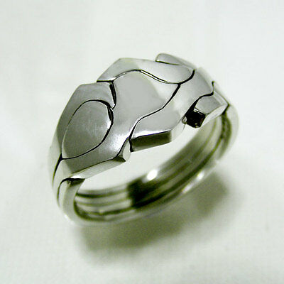 (ROBOT) Unique Puzzle Rings - Sterling Silver - Any Size