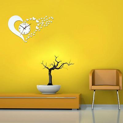 DIY 3D Heart Shape Mirror Stlye Silver Removable Wall Clocks Home Decor Sticker