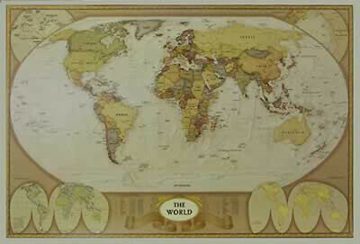 ANTIQUE WORLD MAP - Historical Look - Poster / Print (Size: 36\
