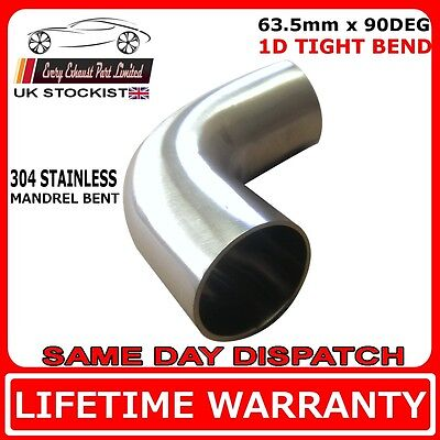 """2.5 """" (63.5mm) 90 Degree Tight 1D 304 Stainless Steel Exhaust Mandrel Bend"""