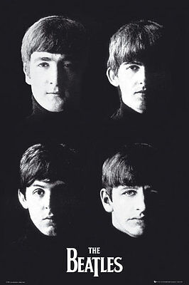 """The Beatles - Music Poster / Print (Black & White - Heads) (Size: 24"""" X 36"""")"""