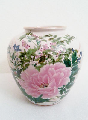 Vintage Ceramic Hand Painted Gold Rim Pink Flower Vase 7.5""