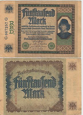 Germany-Berlin, 5000 Mark Banknote,1922 Very Good Condition Cat#77-2345
