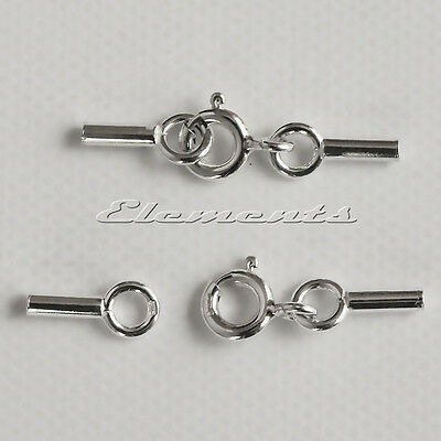 New Sterling 925 Silver Cord Beadalon Crimp Ends Caps With Integrated Clasp